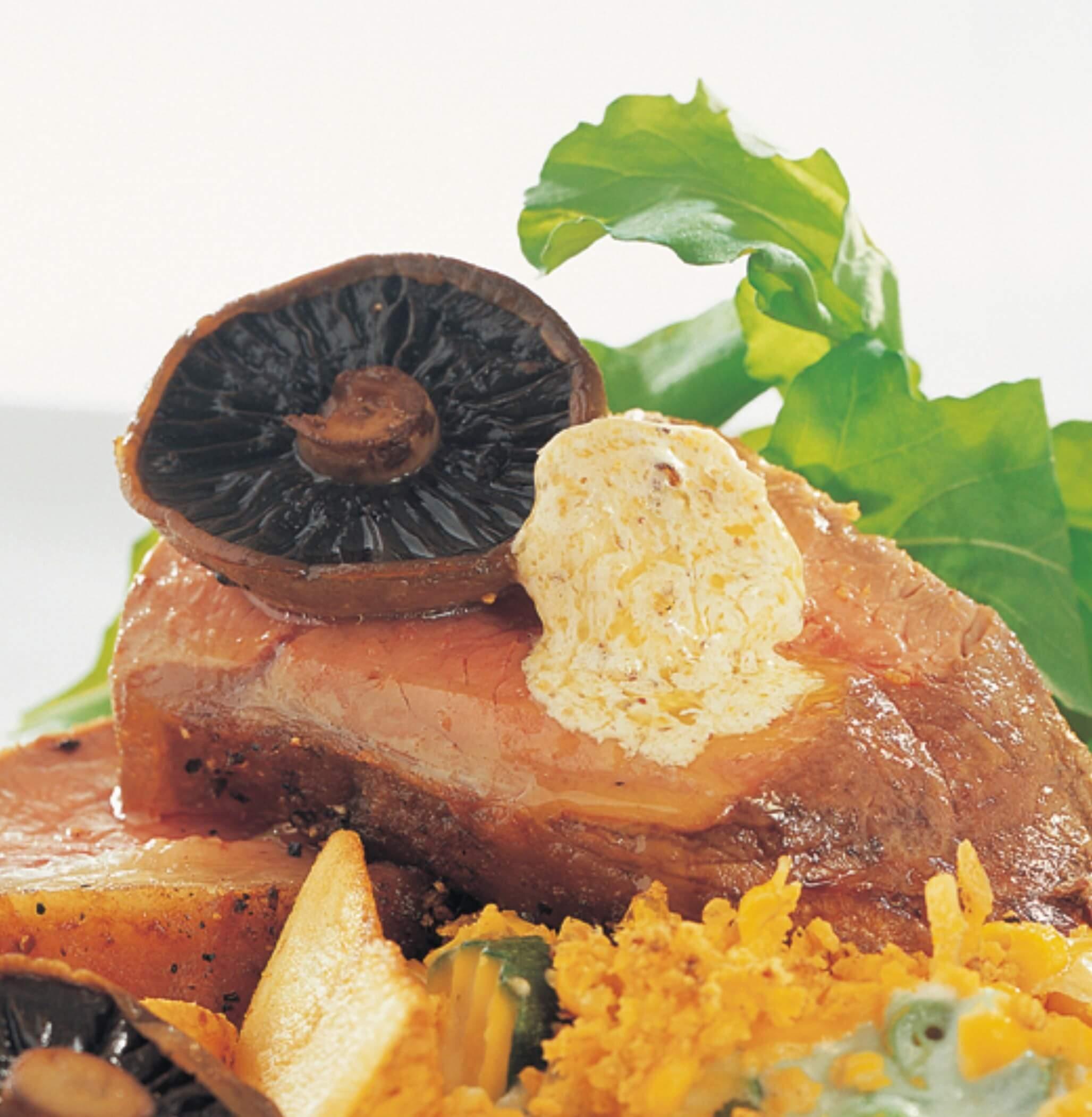 Roast Sirloin, Mushrooms, Potatoes & Mustard Butter